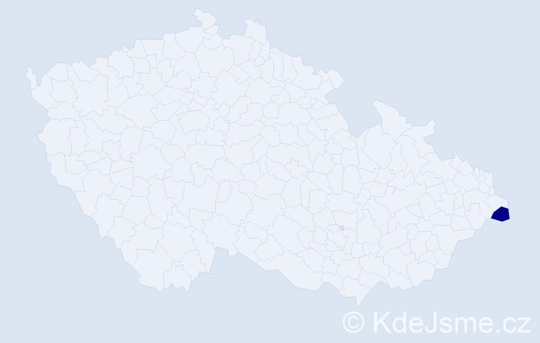 """Příjmení: '""""Klimková Gaurová""""', počet výskytů 1 v celé ČR"""