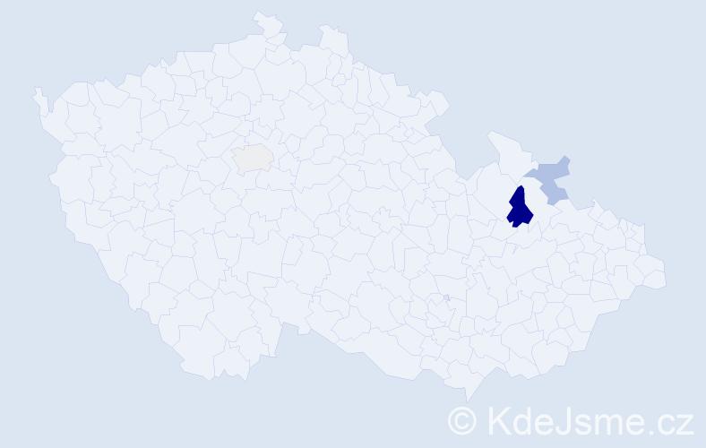 Příjmení: 'Apostolová', počet výskytů 5 v celé ČR
