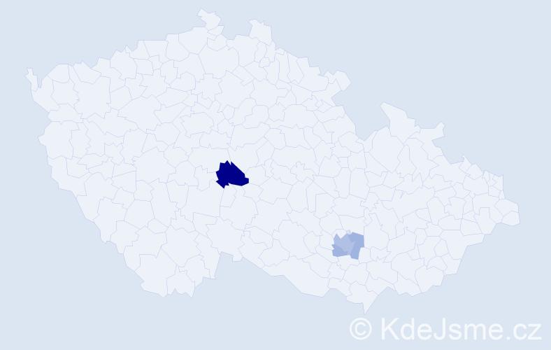 Příjmení: 'Benakcha', počet výskytů 13 v celé ČR