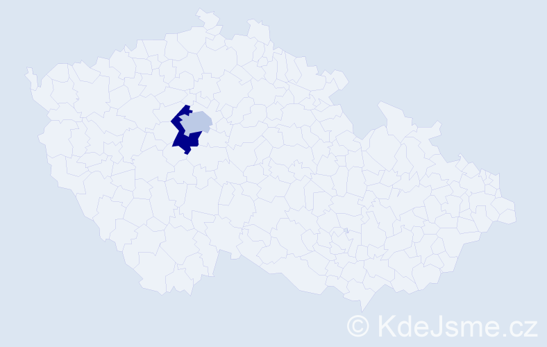 Příjmení: 'Jakší', počet výskytů 9 v celé ČR
