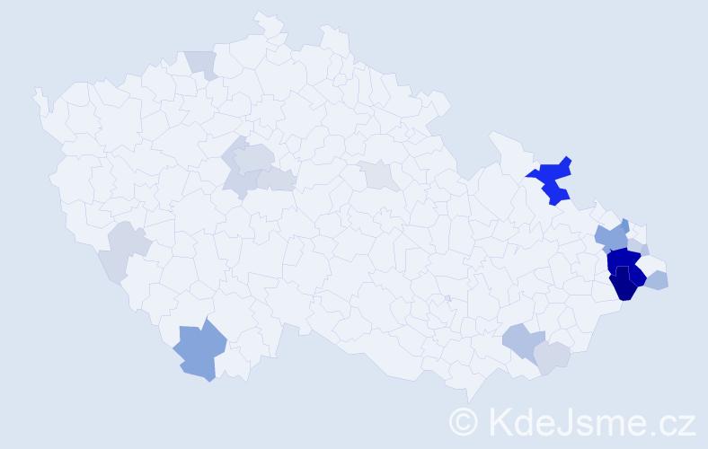 Příjmení: 'Garba', počet výskytů 87 v celé ČR