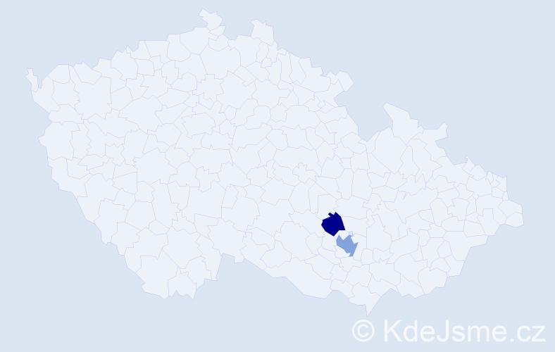 Příjmení: 'Kebek', počet výskytů 3 v celé ČR