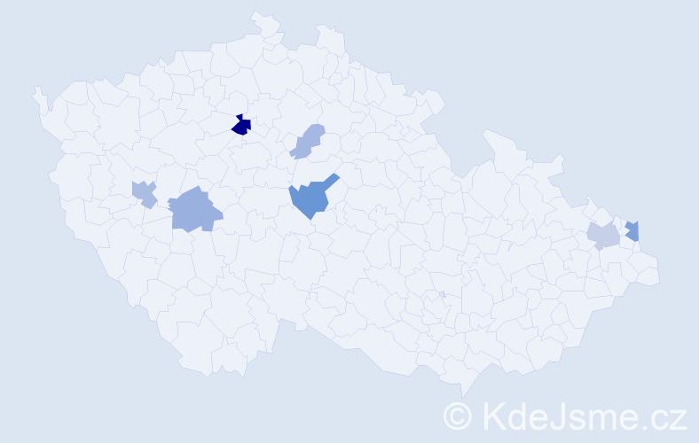 Příjmení: 'Hrčkulák', počet výskytů 20 v celé ČR