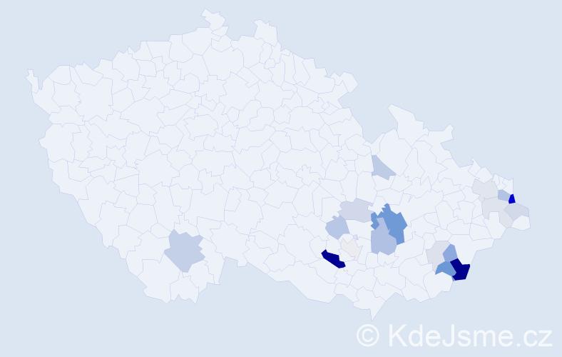 Příjmení: 'Hybl', počet výskytů 49 v celé ČR