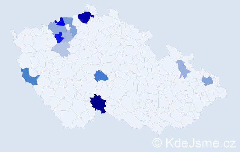 Příjmení: 'Kalaj', počet výskytů 49 v celé ČR