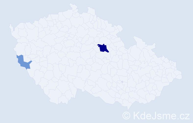 Příjmení: 'Havliger', počet výskytů 8 v celé ČR
