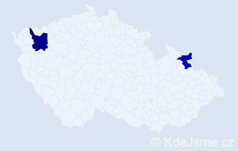 Příjmení: 'Ehlichová', počet výskytů 9 v celé ČR