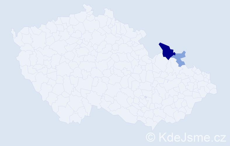 Příjmení: 'Cikuras', počet výskytů 5 v celé ČR