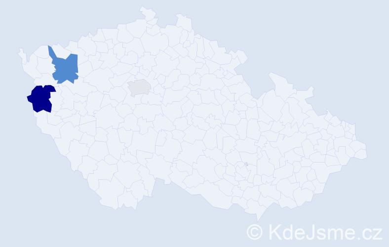 Příjmení: 'Eiserová', počet výskytů 5 v celé ČR