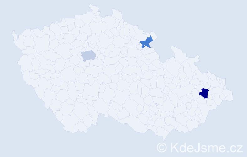 Příjmení: 'Kanócz', počet výskytů 9 v celé ČR
