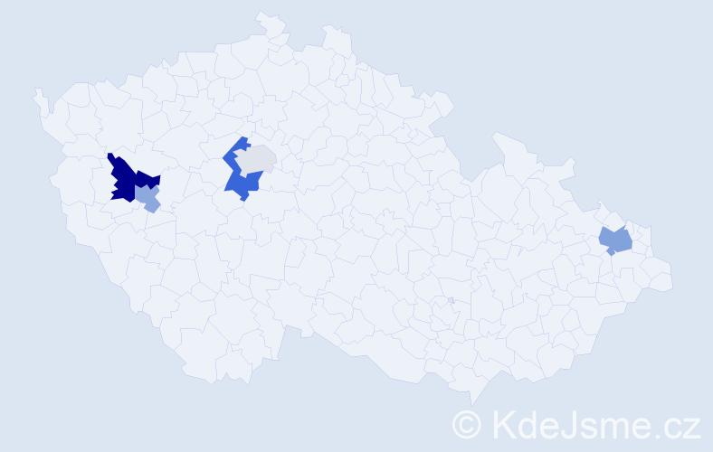 Příjmení: 'Haur', počet výskytů 8 v celé ČR