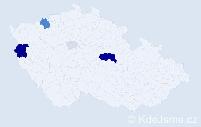 Příjmení: 'Ďalog', počet výskytů 5 v celé ČR