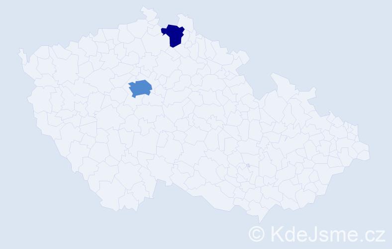 Příjmení: 'Knejslíková', počet výskytů 4 v celé ČR