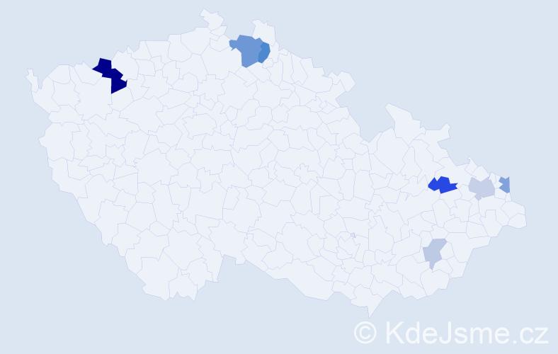 Příjmení: 'Ivanka', počet výskytů 19 v celé ČR
