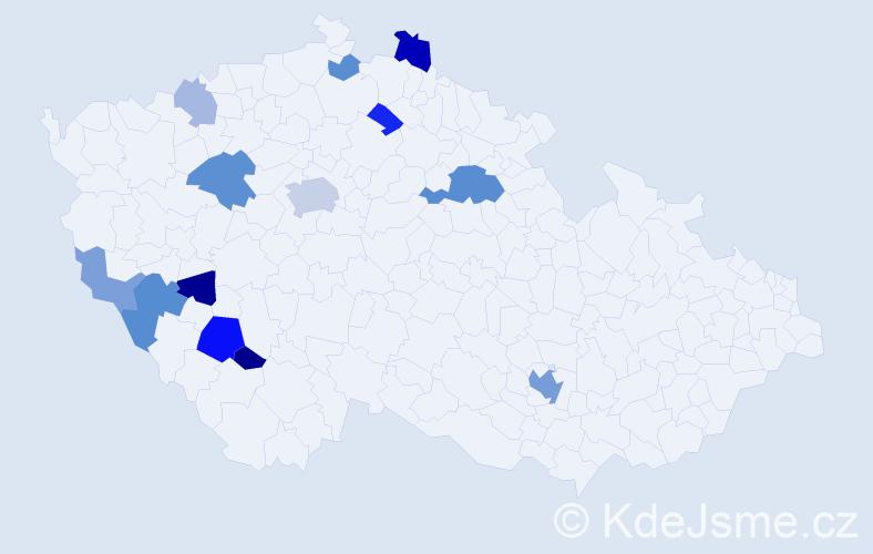 Příjmení: 'Kubařová', počet výskytů 30 v celé ČR