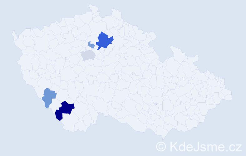 Příjmení: 'Hužerová', počet výskytů 17 v celé ČR