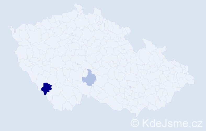 Příjmení: 'Keresztešová', počet výskytů 4 v celé ČR