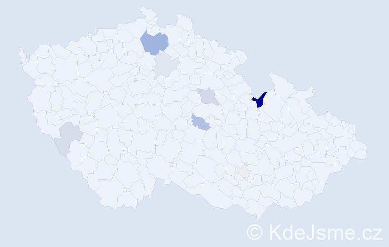 Příjmení: 'Dzura', počet výskytů 13 v celé ČR