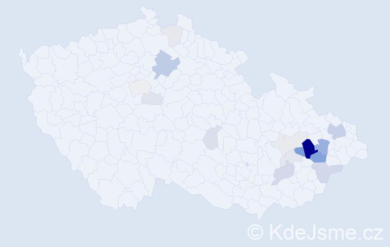 Příjmení: 'Částečka', počet výskytů 50 v celé ČR