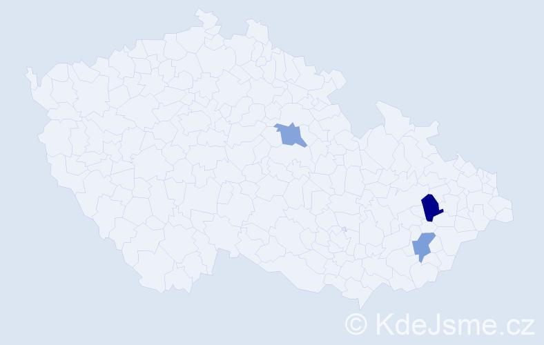 Příjmení: 'Kimler', počet výskytů 7 v celé ČR