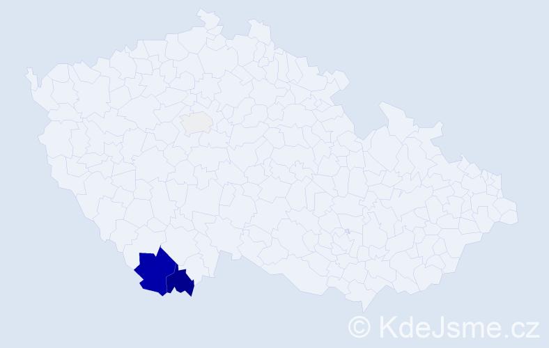 Příjmení: 'Čabelová', počet výskytů 13 v celé ČR