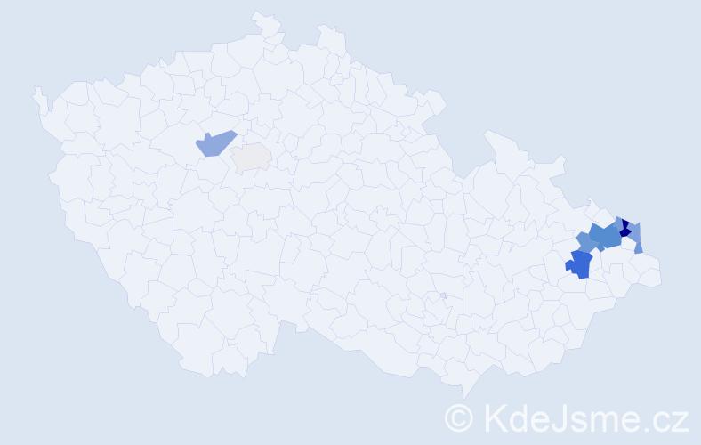 Příjmení: 'Kalembová', počet výskytů 26 v celé ČR