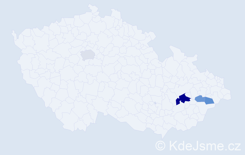 Příjmení: 'Jaremejková', počet výskytů 9 v celé ČR