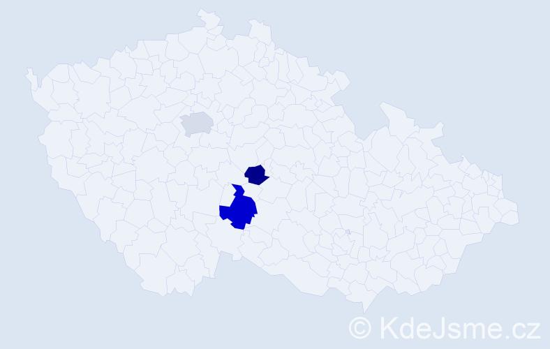 Příjmení: 'Jakubiaková', počet výskytů 5 v celé ČR