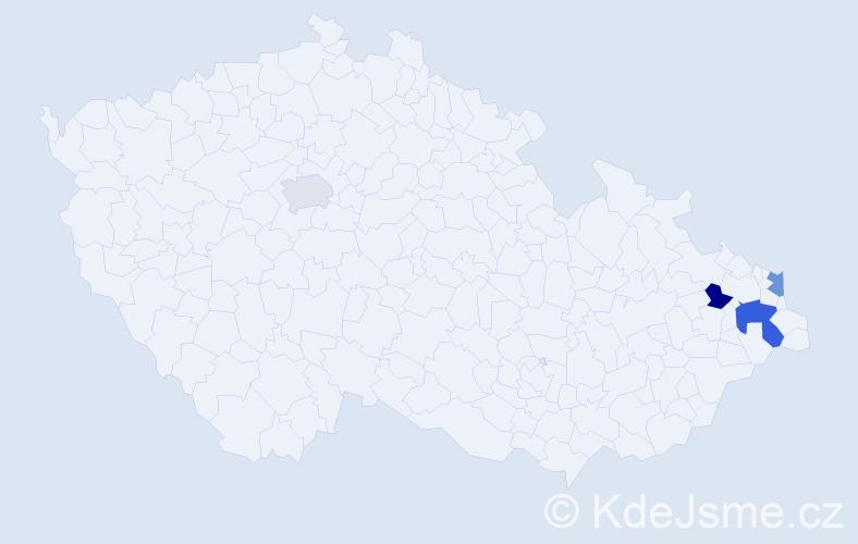 Příjmení: 'Jančošková', počet výskytů 5 v celé ČR