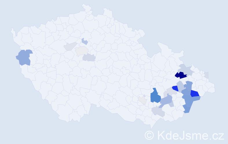 Příjmení: 'Graclíková', počet výskytů 52 v celé ČR
