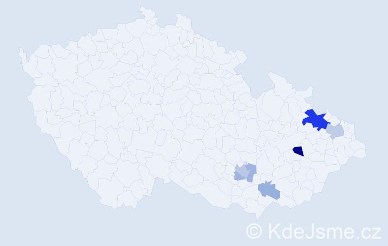 Příjmení: 'Bílovský', počet výskytů 27 v celé ČR
