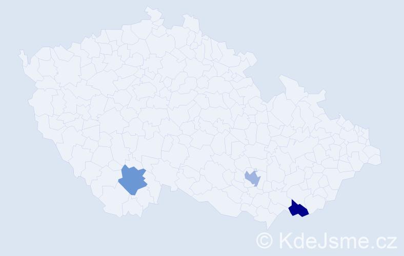 Příjmení: 'Bohúš', počet výskytů 3 v celé ČR
