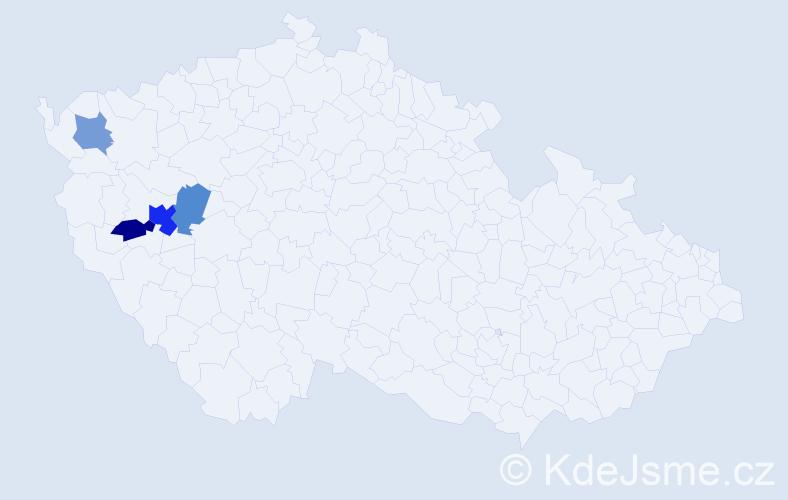 Příjmení: 'Lazebníková', počet výskytů 7 v celé ČR