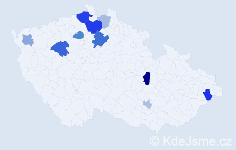 Příjmení: 'Ács', počet výskytů 19 v celé ČR