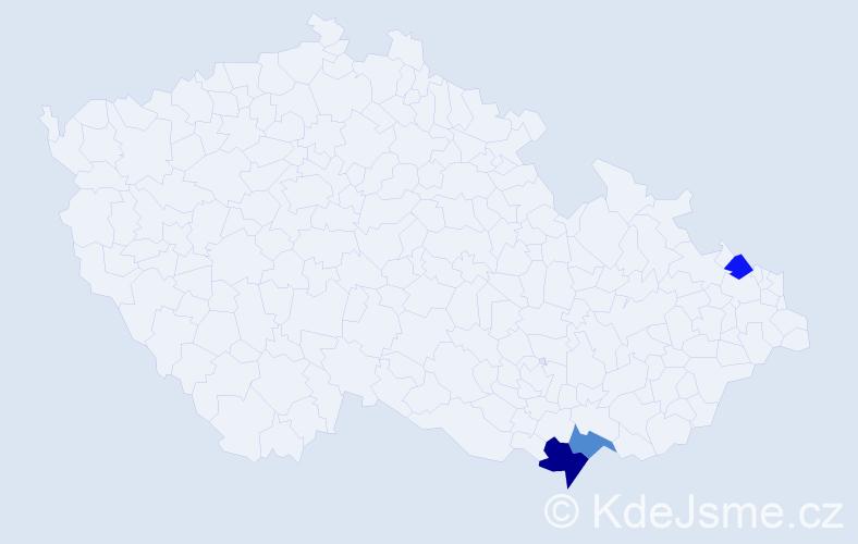 Příjmení: 'Haida', počet výskytů 4 v celé ČR