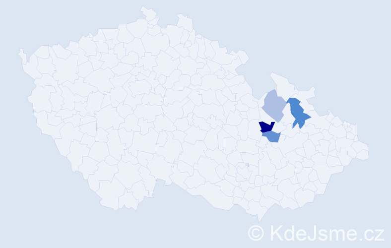 Příjmení: 'Haiznerová', počet výskytů 6 v celé ČR