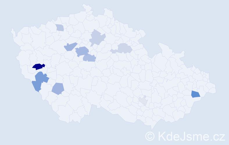 Příjmení: 'Firbachová', počet výskytů 29 v celé ČR