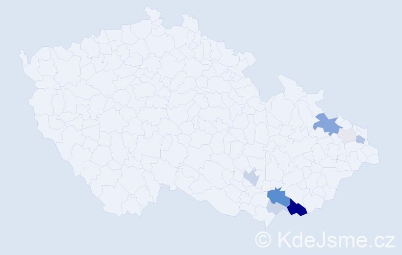 Příjmení: 'Blatecký', počet výskytů 25 v celé ČR