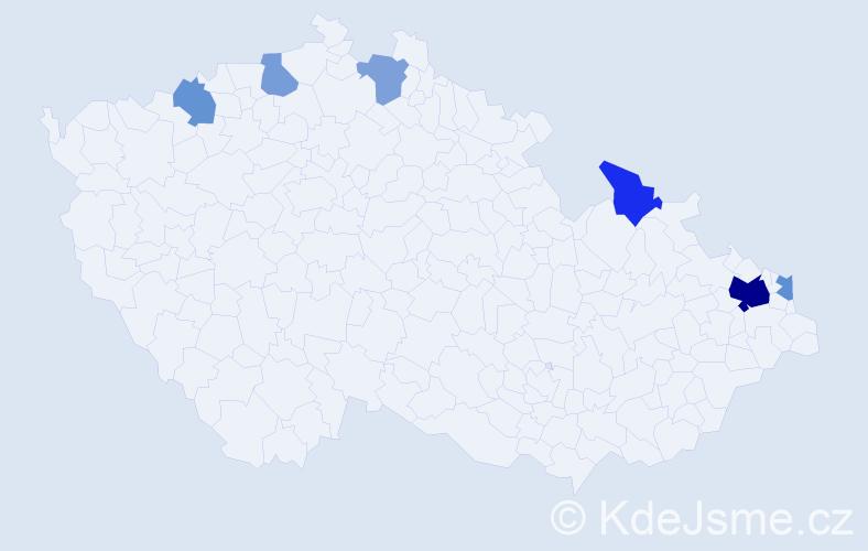 Příjmení: 'Grőgerová', počet výskytů 12 v celé ČR
