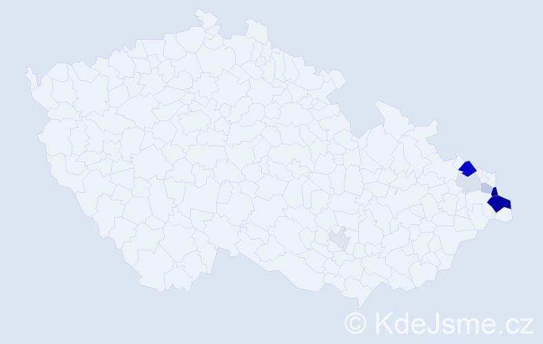 Příjmení: 'Czernik', počet výskytů 16 v celé ČR