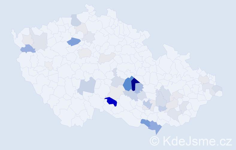 Příjmení: 'Hemza', počet výskytů 124 v celé ČR