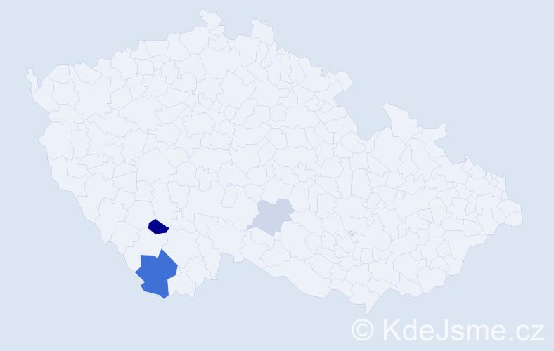 Příjmení: 'Fenc', počet výskytů 7 v celé ČR