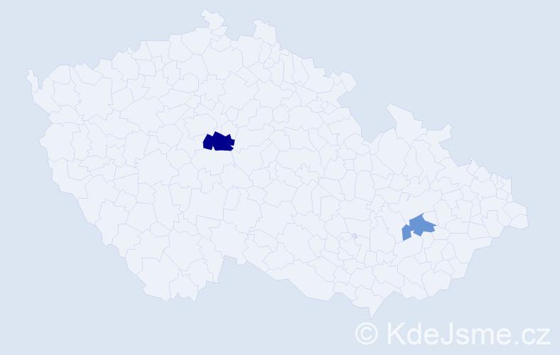 Příjmení: 'Hemolová', počet výskytů 3 v celé ČR