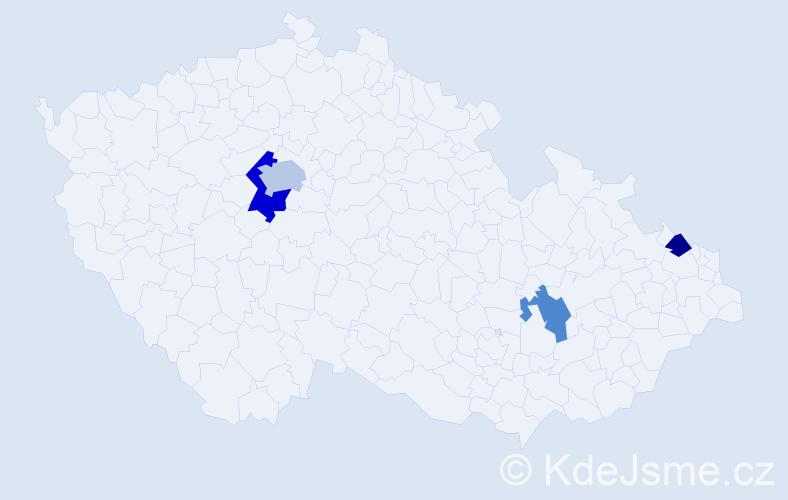 Příjmení: 'Barnard', počet výskytů 6 v celé ČR