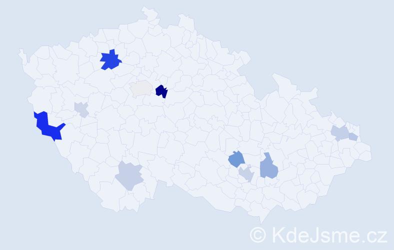 Příjmení: 'Cook', počet výskytů 18 v celé ČR