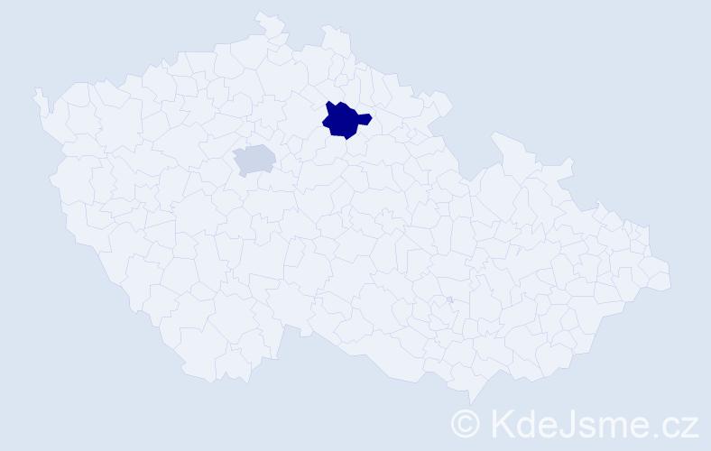 Příjmení: 'Hafová', počet výskytů 2 v celé ČR