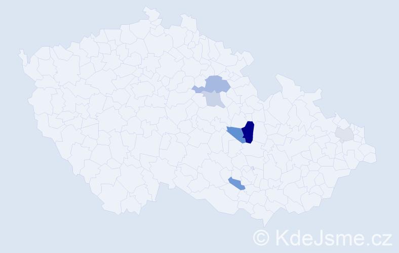 Příjmení: 'Krajsl', počet výskytů 10 v celé ČR