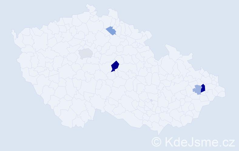 Příjmení: 'Giba', počet výskytů 13 v celé ČR