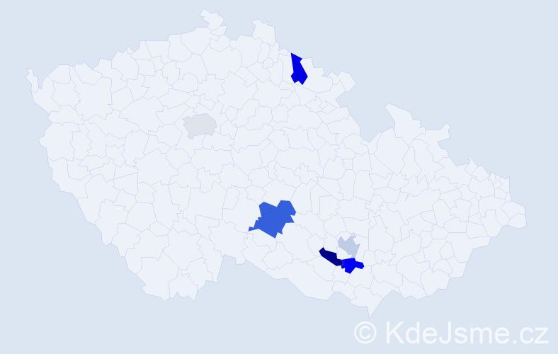 Příjmení: 'Gumančík', počet výskytů 7 v celé ČR