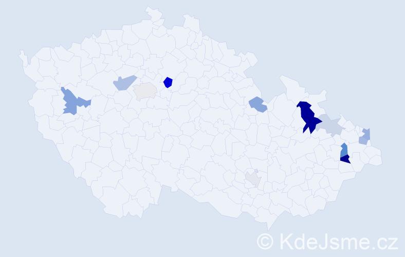 Příjmení: 'Kojda', počet výskytů 28 v celé ČR